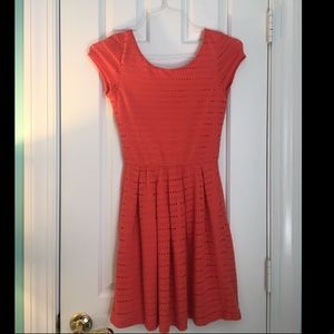 Coral fit and flare cotton dress